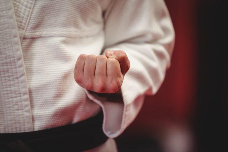 Karate player in black belt